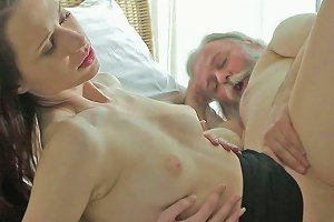 Cute Brunette Teen And Ugly Old Freak Have Dirty Oral Porno In Bedroom