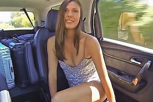 Hot Teen Tart Shows Her Tall Body And Masturbates In A Car