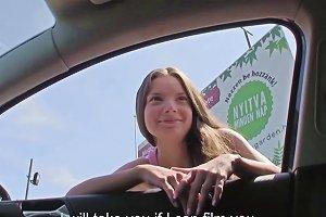 Hitchhiking Petite Hungarian Receives Drivers Cumshot On